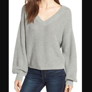 NORDSTROM BP Gray Cotton V Neck Slouchy Sweater XS